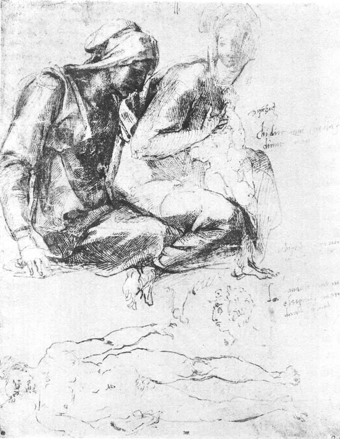 圣母子和圣施洗约翰草图 米开朗基罗
