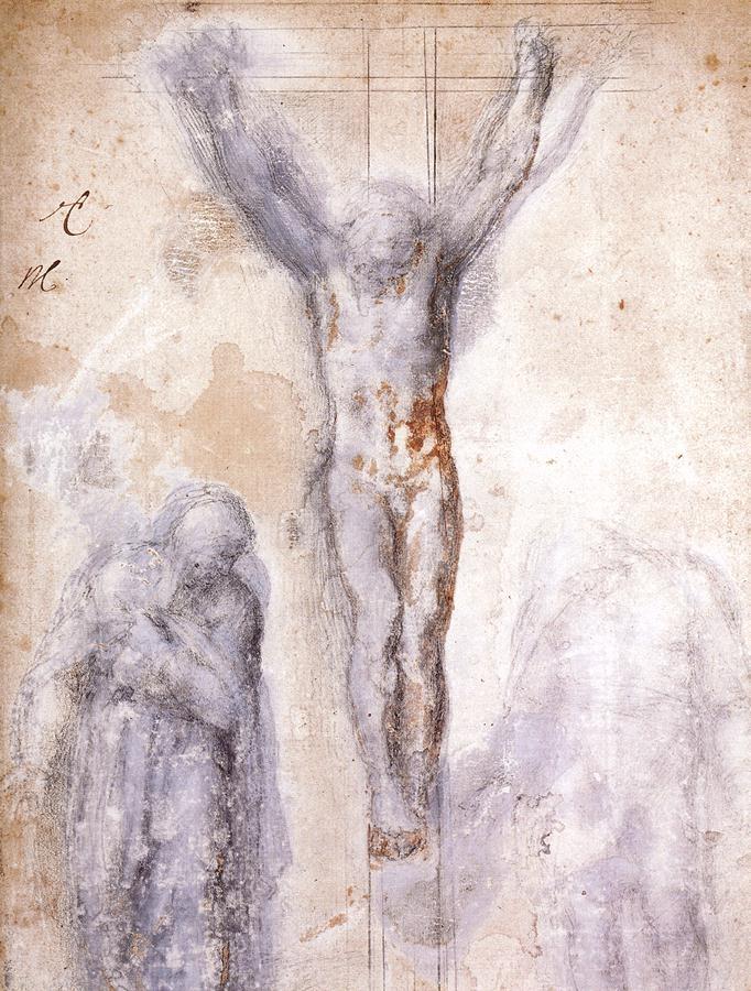 圣母和传道者圣约翰之间十字架上的基督耶稣 米开朗基罗2