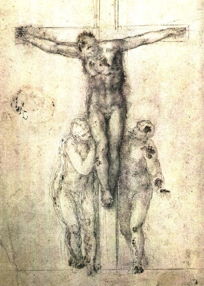 圣母和传道者圣约翰之间十字架上的基督耶稣 米开朗基罗