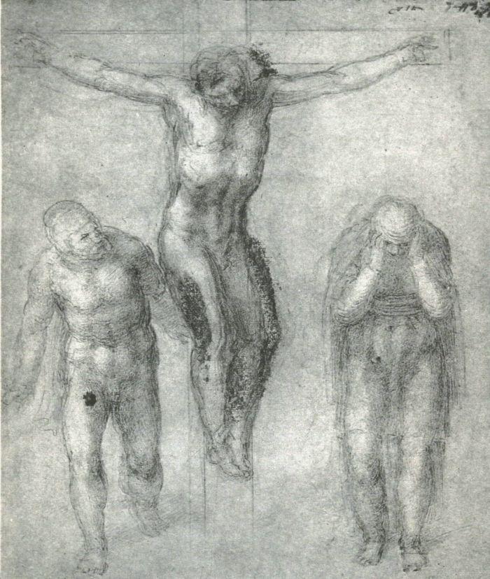 送葬者和十字架上的基督 米开朗基罗