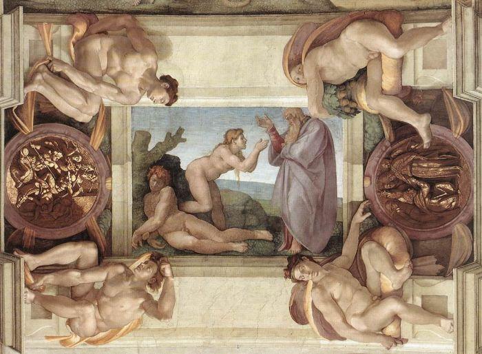 西斯廷教堂天顶画:创造夏娃 米开朗基罗