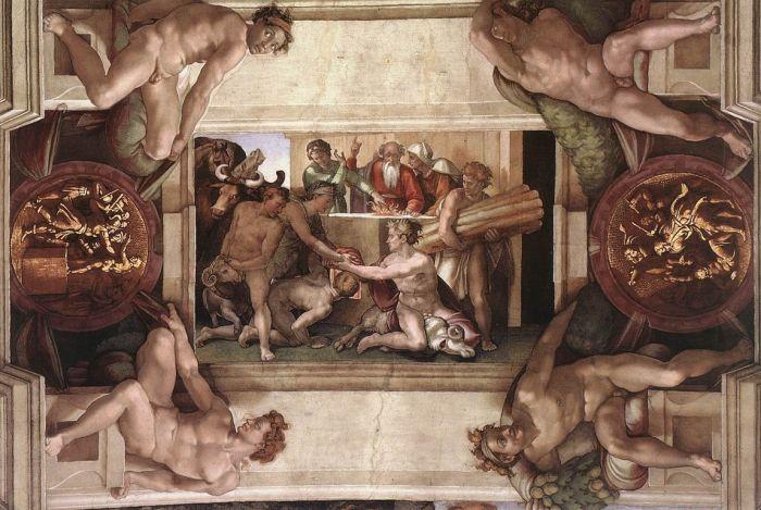 西斯廷教堂天顶画:诺亚的祭品 米开朗基罗