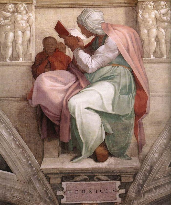 西斯廷教堂天顶画:女预言家波斯 米开朗基罗