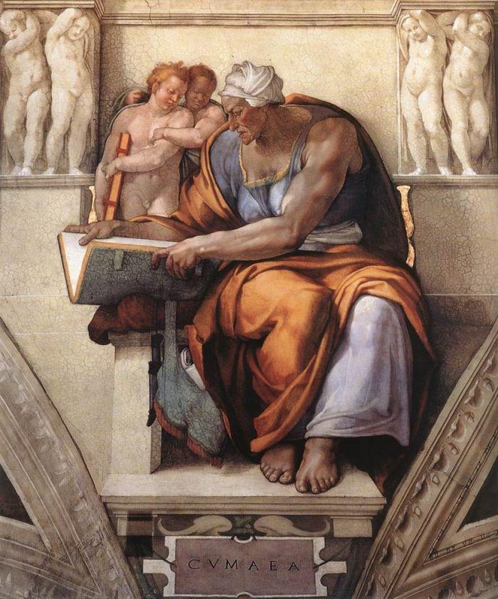西斯廷教堂天顶画:女预言家库姆 米开朗基罗