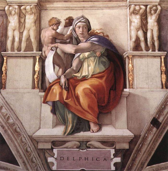西斯廷教堂天顶画:女预言家德尔菲 米开朗基罗