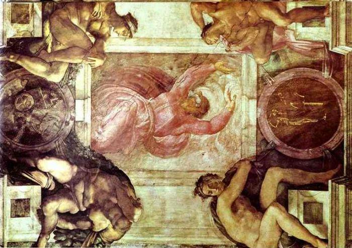 西斯廷教堂天顶画:上帝划分白天和黑夜 米开朗基罗