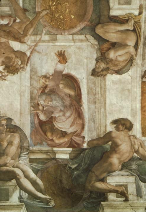 西斯廷教堂天顶画:上帝划分土地和水 米开朗基罗2