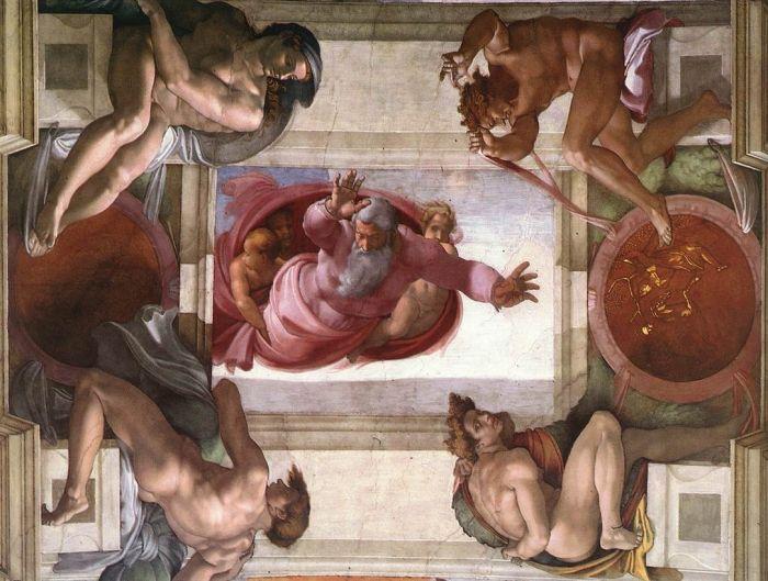 西斯廷教堂天顶画:上帝划分土地和水 米开朗基罗