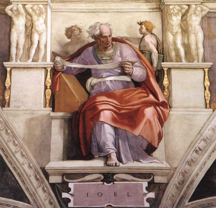 西斯廷教堂天顶画:先知乔尔 米开朗基罗