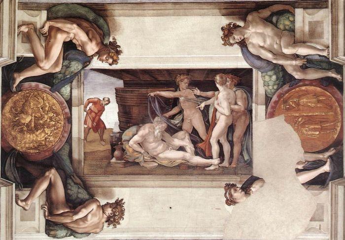 西斯廷教堂天顶画:醉酒的诺亚 米开朗基罗