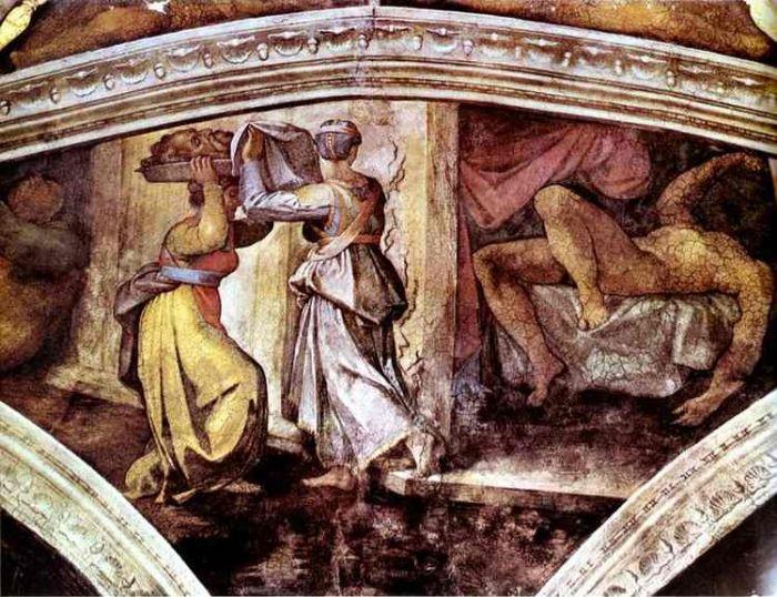 西斯廷教堂天顶画:朱迪思携带敖罗斐乃的头颅 米开朗基罗