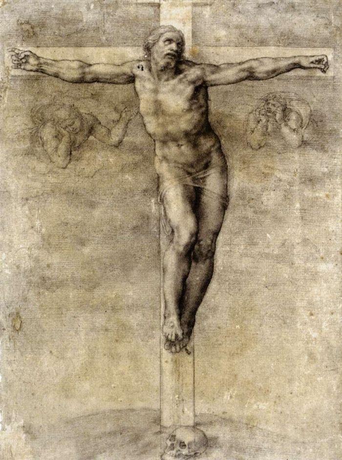 耶稣被钉死在十字架上草图 米开朗基罗