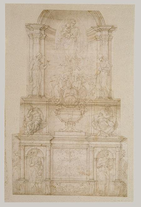 尤利乌斯二世陵墓的设计(第一版) 米开朗基罗