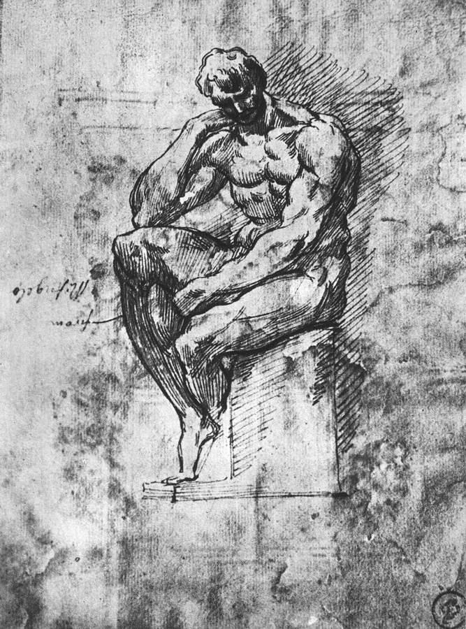 坐着的裸体男子草图 米开朗基罗