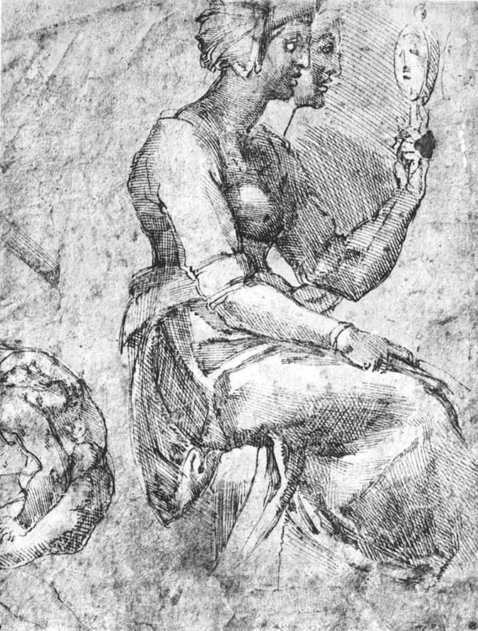 坐着照镜子的女子草图 米开朗基罗