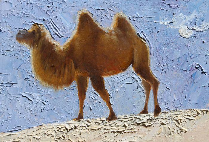 骆驼肖像22x15cm油画2009.12 A:小尺幅的骆驼肖像系列我自己更满意一些,创作过程中的笔触、色彩、感情的运用都比较自如。在这个系列作品里,普通观众很容易接受,骆驼的年龄、神态、情绪都表现很直接,大家都可以看得懂。而会画画的人在看这一系列的时候,也能从技术层面有所分析。这一系列就是我的得意之作。 Q:从美术史上来讲,风景和人物是油画的主流载体。以动物为描绘主体的作品其实是不多见的。在您的创作过程中,根据动物进行创作的困难在哪里? A:没什么困难的。要说难画的,还是人最难画。打个不太恰当的比喻,在