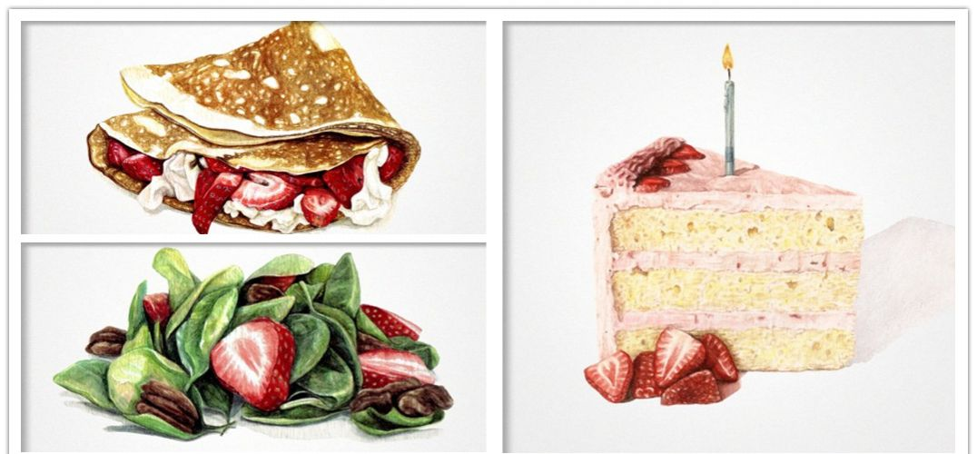 美食类手绘插画作品 送给吃货的礼物