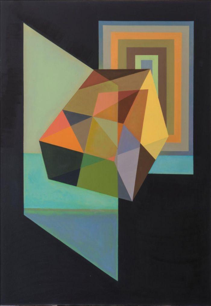 《在透明玻璃与色彩门之间》, 2015 布面油画, 204 x 140 厘米