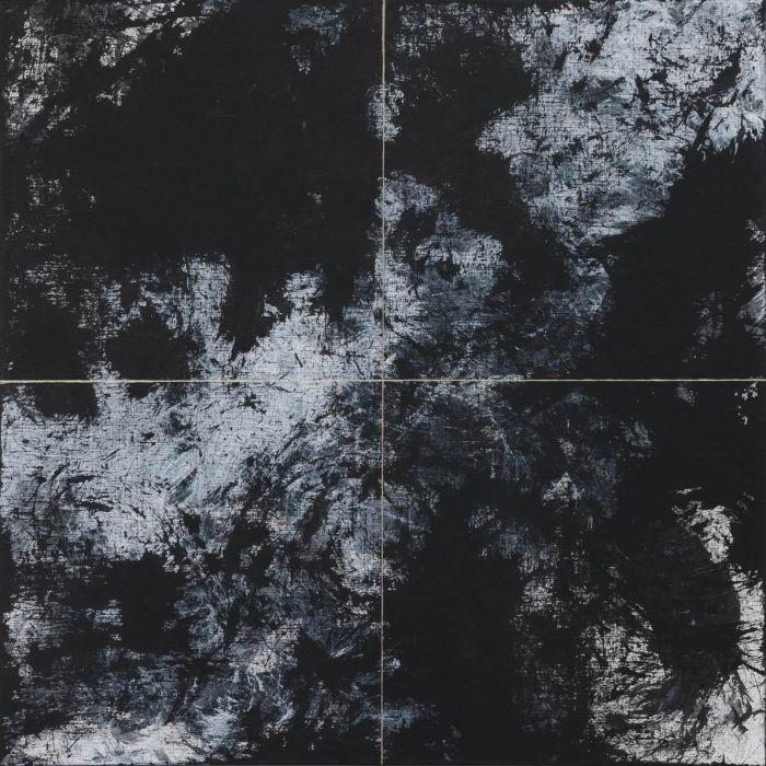 《松》 III, 2015 布面黑色石膏粉、丙烯、油画颜料, 80x80厘米 新闻