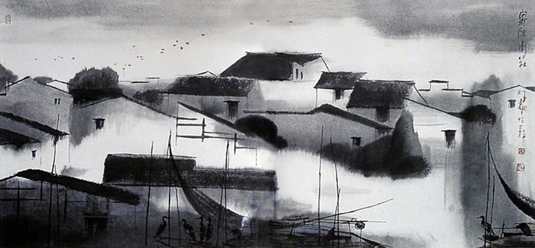 江南建筑手绘黑白