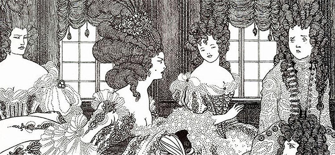 """奥布里·比亚兹莱(英国拉斐尔前派著名画家)   奥布里·比亚兹莱(Aubrey Beardsley 1872-1898)的作品风格很简洁,一般只有黑白两色;同时又很繁复,精心的线条细碎的花纹。他总是画一些表情诡异的妖冶男子女子,充满了嘲讽、颓废,甚至色情、邪恶。因此,比亚兹莱被冠以""""恶之花""""的外号。生命晚期的比亚兹莱为了养病经常从一个地方搬到另一个地方,而大部分时间都居住在法国。1898年3月16日,比亚兹莱在法国南部一家小旅馆里去世,年仅26岁。"""