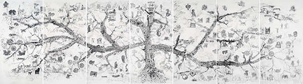 邱志杰,《遍地灵异图》,120x240cm,水墨,2013年,Map of Mythological Animals, ink rubbing on paper, 840 x 240 cm (7 pieces, each one measuring 120 x 240 cm), 2013