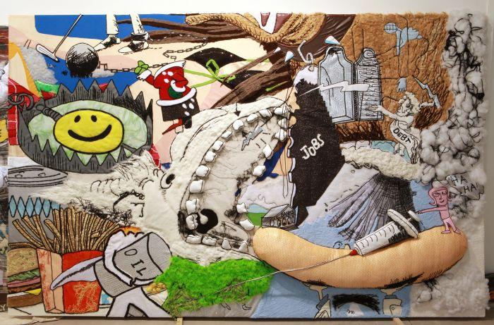 徐震,《蔓延 B-038》,2010年,布艺拼贴,布,辅料,351厘米x 225厘米,没顶公司出品