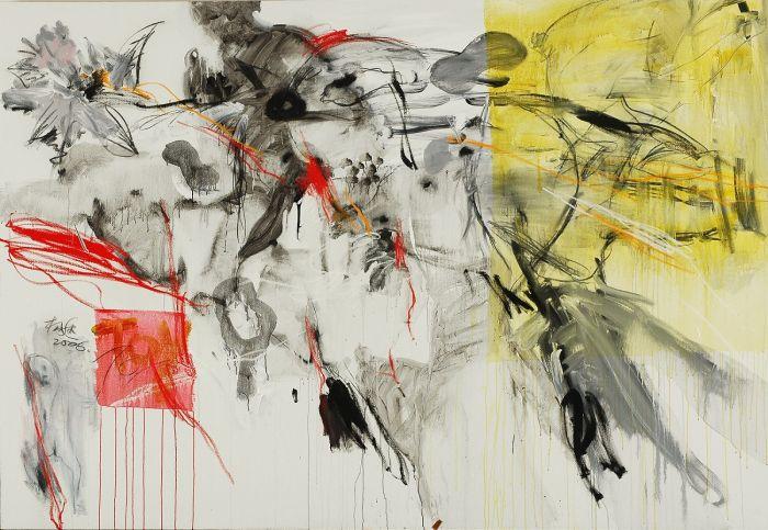 杨述,《无题2007-花》,2007年,布面丙烯及综合材料,180厘米 x 260厘米