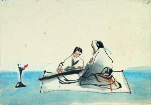 2011年在杭州西泠印社开拍的首届中国漫画拍卖会上,漫画家吴山明和卓鹤君合作的一幅水墨漫画《山水情》以56万元成交。