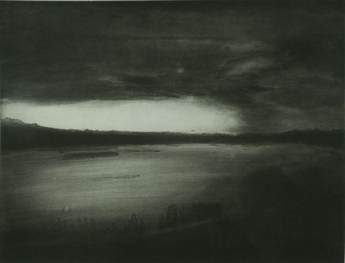 黑白线条画幻想风景