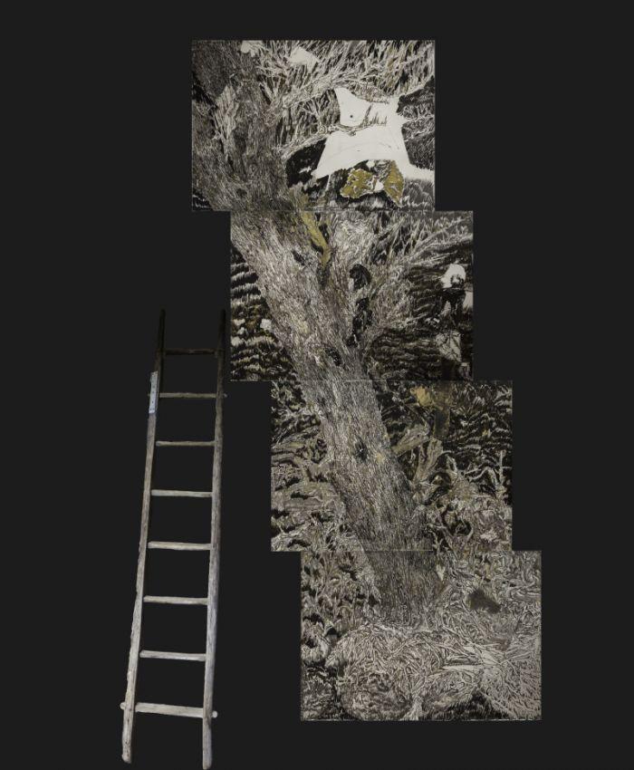 陈彧君 陈彧凡《无题》,纸本水墨、丙烯、木梯,480x200 cm,2015