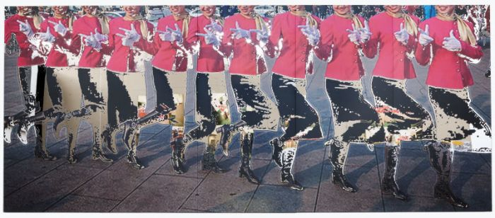 杨振中,《静物系列 12#》,镜面不锈钢UV打印,128x300 cm,2015