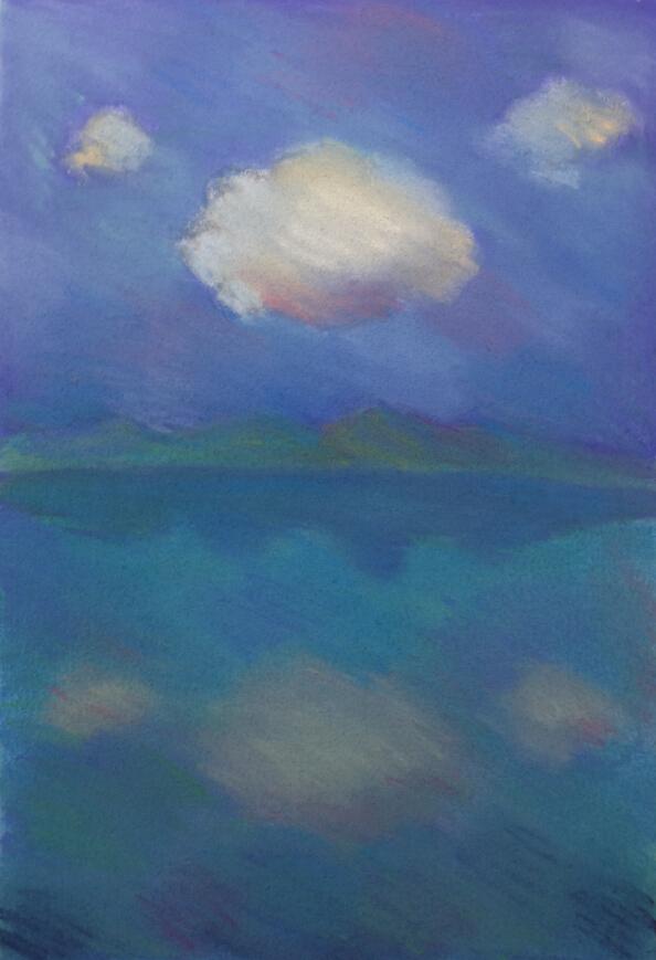 周池 有云的风景20x27cm 纸上色粉