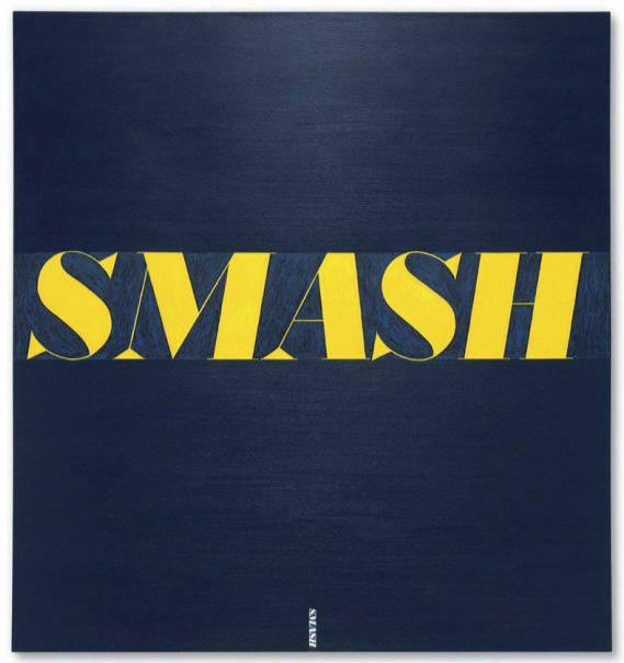 埃德·拉斯查,《粉碎》(1963) 图片:courtesy of Christies. 埃德·拉斯查排行第三归功于他的文字作品《粉碎》(Smash,1963) 去年11月在佳士得纽约以3000万美元售出的好成绩,这也表明了他的波普风格持续升温。 克里斯托弗·沃尔(Christopher Wool)