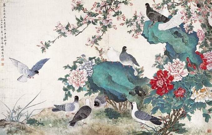 牡丹鸽子( 陈之佛)