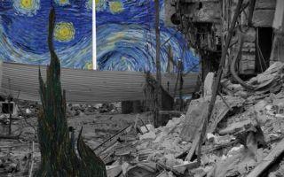 战争与和平:当经典画作叠放在被轰炸的建筑上