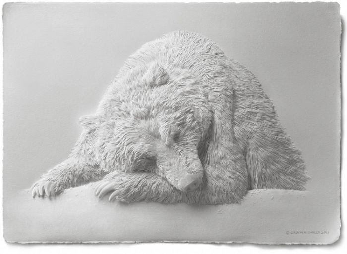 纸雕艺术已不算陌生,但这样的纸艺创作还真让人有大开眼界的精细之美! 加拿大艺术家 Calvin Nicholls 不只利用「纸」作为他创意想像的发展之旅.更藉此展开一场穿梭于二维与三维的「纸世界」之中,用极致的手做技术仿效著自然动物们的面容,在细腻的雕刻与黏贴裡头,把牠们的毛绒、羽翼等揣摩的栩栩如生~灵动的诠释裡头,有著耐人寻味的姿态,而在这一幅幅即便仅是纯白的艺术之中,也有著超越于颜色之上的精彩!