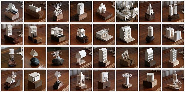 每天制作一个纸质的微型建筑模型