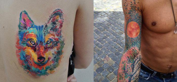 捷克艺术家创作定制水彩纹身 预约已到两年后