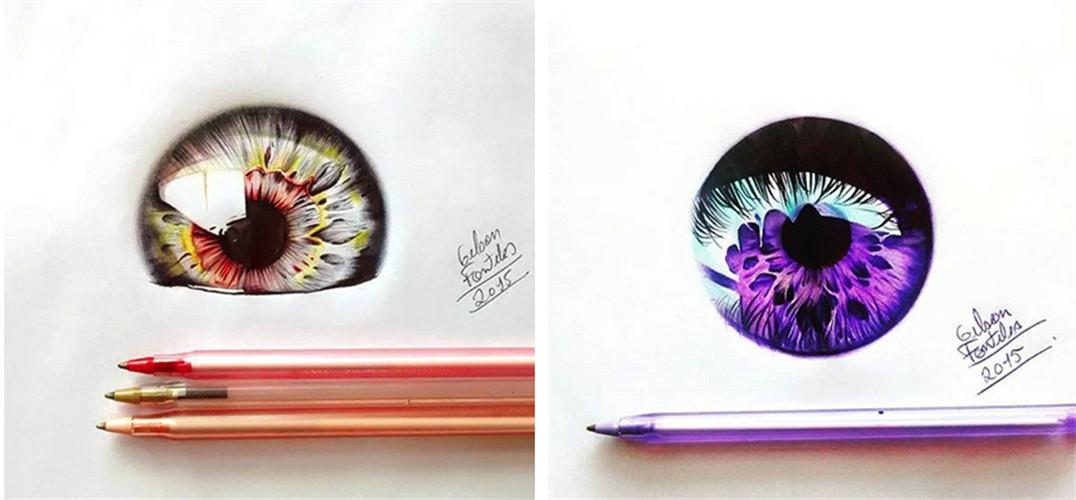 nteles用圆珠笔画的眼睛插画作品