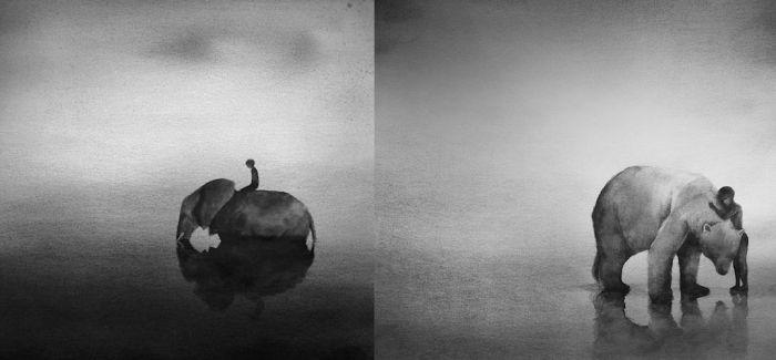 黑白水彩画
