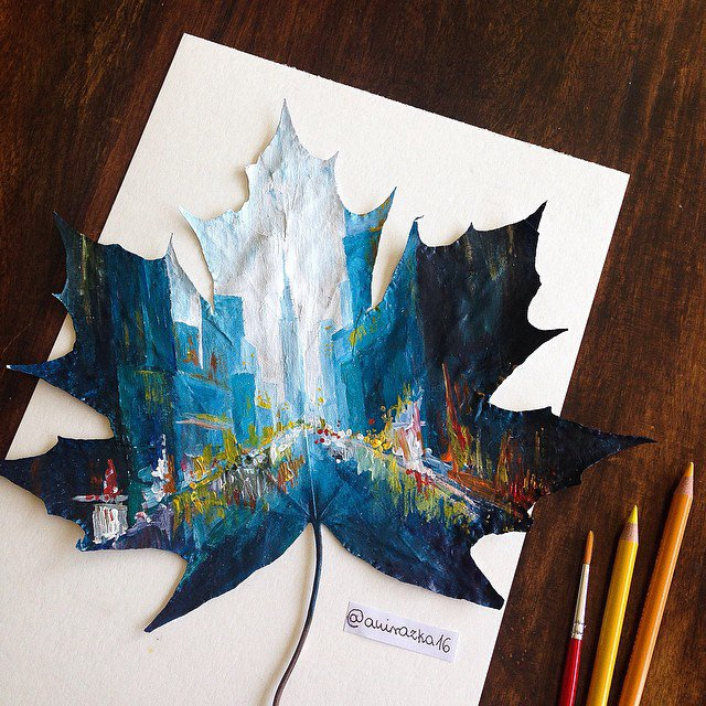 Artist Uses Fallen Autumn Leaves As Canvases For Gorgeous Paintings 5