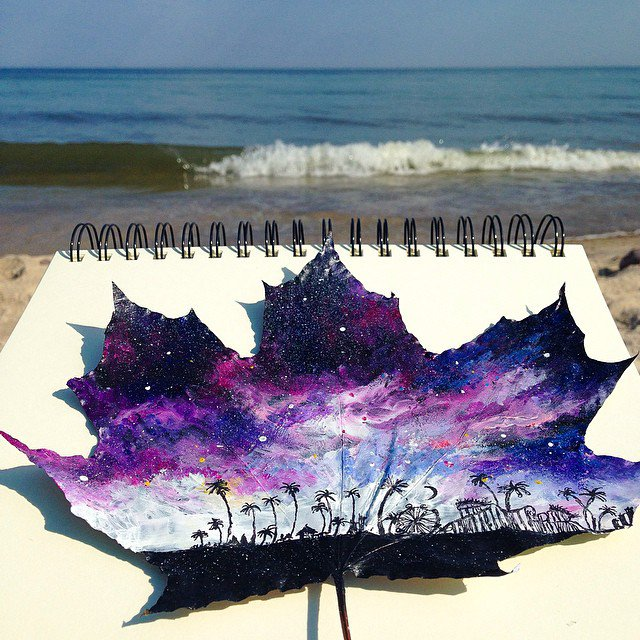 Artist Uses Fallen Autumn Leaves As Canvases For Gorgeous Paintings 6