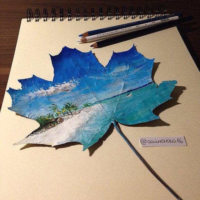 Artist Uses Fallen Autumn Leaves As Canvases For Gorgeous Paintings 1