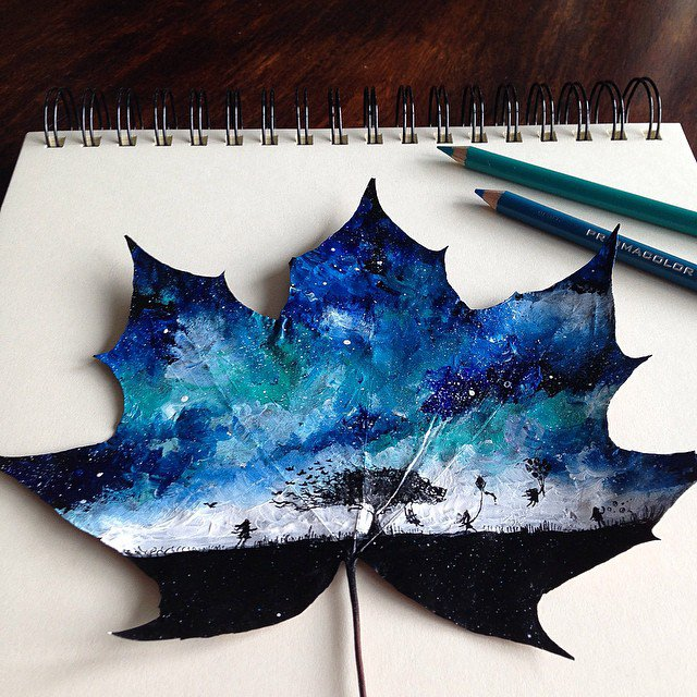 Artist Uses Fallen Autumn Leaves As Canvases For Gorgeous Paintings 10