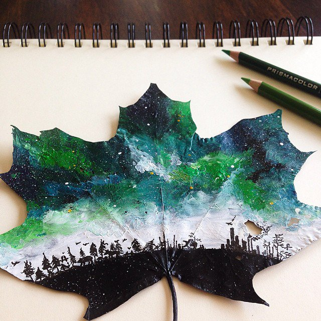 Artist Uses Fallen Autumn Leaves As Canvases For Gorgeous Paintings 7