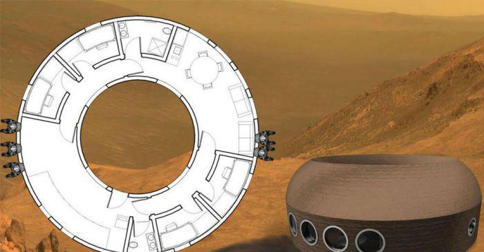 甜甜圈(Donut House Mk. I) 设计者: A.R.C.H. 这个像甜甜圈的房子由加了纤维的玄武岩粘土建造而成。环形的设计允许将居所分割成独立的舱段,如果其中一部分被陨石砸坏,其他部分仍然可以为宇航员提供居所。