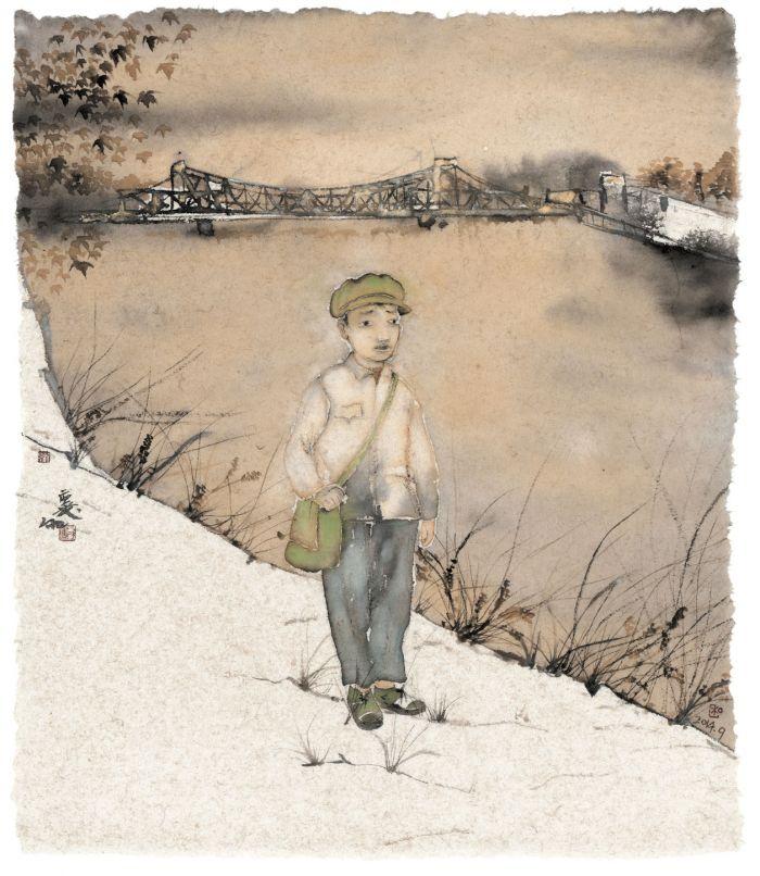 青春在海河畔,纸本设色,65cm×55c,2014