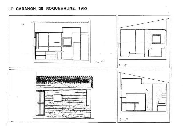 小木屋的平面由4个140厘米x226厘米的长方形围绕中间