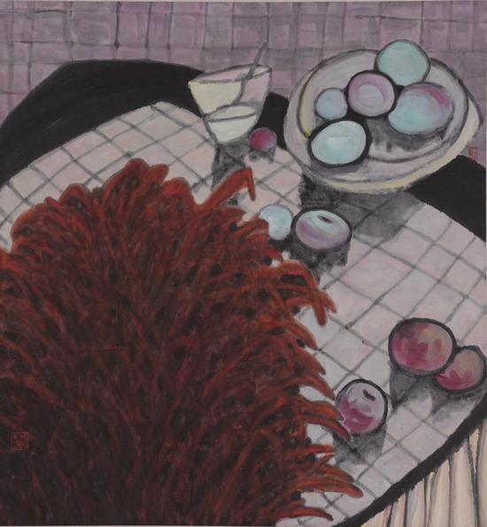 《有绿果子的静物》设色纸本80×75cm2004年
